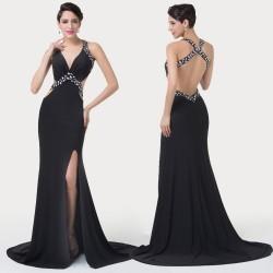 Krásne čierne dámske spoločenské šaty